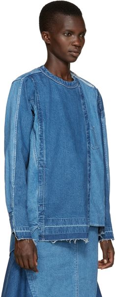 Sacai: Blue Reconstructed Denim Shirt | SSENSE