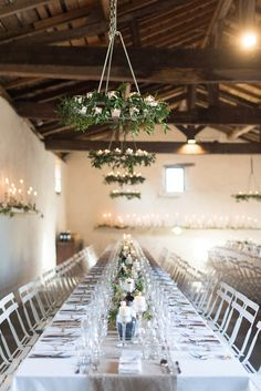 Foliage chandeliers for a  for a Romantic French Chateau Wedding. Photography by Julie Michaelsen Photography