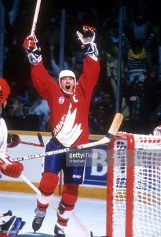 Wayne Gretzky, Team Canada, celebrates a goal during Game 2 of the 1987 Canada Cup on September 1987 at Copps Coliseum in Hamilton, Ontario, Canada. Team Canada defeated Team Soviet Union in Stars Hockey, Hockey Teams, Ice Hockey, Hockey Stuff, Canada Cup, Hockey Pictures, Boston Bruins Hockey, Hockey World, Wayne Gretzky