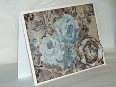 Beautiful Light Blue and Chocolate Floral Blank Note by jenboothe, $6.00