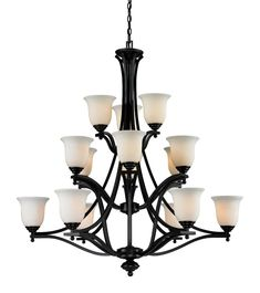 Z-Lite Lagoon Matte Black Bohemian/Global Opal Glass Chandelier at Lowe's. All fifteen lights of this matte black chandelier, encased in matte opal-shaded bowls, will fill any room with an exquisite glow. Bronze Chandelier, Ceiling Chandelier, Chandelier Shades, Modern Chandelier, Wall Sconce Lighting, Home Lighting, Wall Sconces, Lighting Ideas