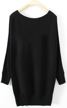 Black Boat Neck Long Sleeve Pullovers Sweater