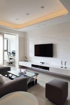 Slimline drawers Living Room Tv, Living Room Interior, Living Spaces, Tv Wall Design, House Design, Tv Feature Wall, Muebles Living, Living Comedor, Luxury Living
