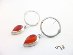 Silver Dangle Earrings With Carnelian, Gold