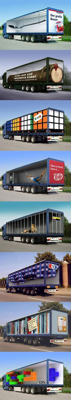Optical illusion truck ads