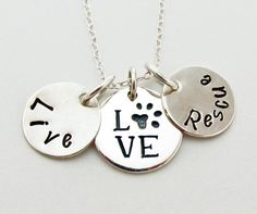 Live, Love, Rescue ~  Pet Adoption Necklace in Sterling Silver by TNine Design, $52.00