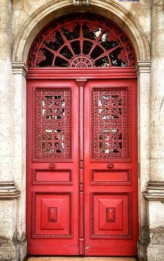 Red doors in Montmartre, Paris, France.