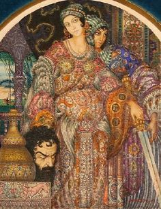 """Arthur Szyk, """"Judith Holding the Head of Holofernes,"""" watercolor, ink and gouache on paper. 13 x 10 cm, auctioned by Gene Shapiro Auctions (Lot Book Of Judith, Judith And Holofernes, Feminist Icons, Jean Baptiste, Jewish Art, Art Archive, Old Testament, Traditional Paintings, Painting & Drawing"""