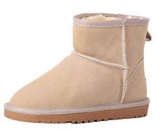 Womens High Top Real Leather Thermal Shoes Winter Snow Boots 75 apricot *** Be sure to check out this awesome product.