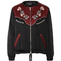 Isabel Marant Lindsey embroidered sateen jacket (€755) ❤ liked on Polyvore featuring outerwear, jackets, isabel marant, coats, burgundy jacket, sateen jacket, multi color jacket and embroidery jackets