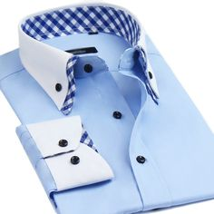 Lyon Becker Mens Italian Shirts Double Collar Slim Fit Casual Button Down Shirt (Blue Check XL) Mens High Collar Shirts, Double Collar Shirt, Formal Shirts For Men, Casual Shirts, Gents Shirts, Italian Shirts, Gentlemen Wear, Mens Designer Shirts, African Clothing For Men