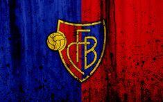 Download wallpapers FC Basel, 4k, logo, stone texture, grunge, Switzerland Super League, football, emblem, Basel, Switzerland