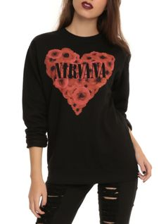 Black top with Nirvana poppy heart design on the front.