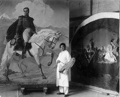 Tito Salas Pintor Venezolano, pintando un cuadro del libertador Simon Bolivar