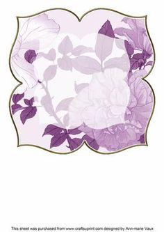 Lemon Rose Purple Large Blooms 8inch Insert Panel on Craftsuprint - Add To Basket!