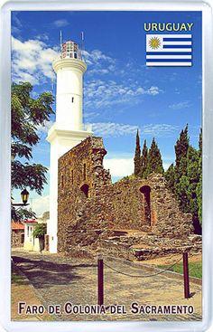 $3.29 - Acrylic Fridge Magnet: Uruguay. Lighthouse At Colonia Del Sacramento