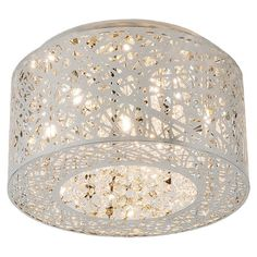 Flush mount with a steel laser-cut drum shade and inner beaded accents.    Product:  Flush mount       Construction Mat...