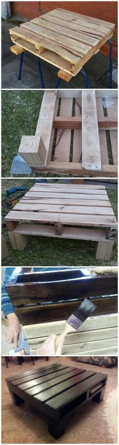 Pallet Tables Projects Pallet project, DIY coffee table, pallet furniture, rustic, pallet table - if you add a cushion it would be a seat. Pallet Crafts, Pallet Projects, Home Projects, Diy Pallet, Pallet Ideas, Pallet Porch, Outdoor Pallet, Diy Crafts, Decoration Palette