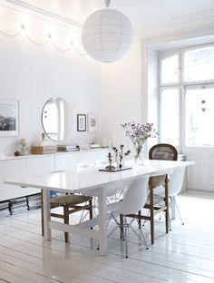 Glowing white dining room
