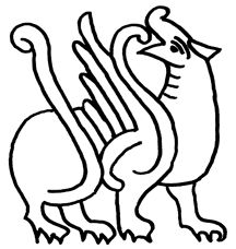 sketch of a griffin from the Bayeux Tapestry