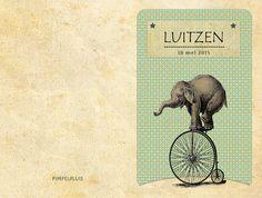 Geboortekaartje Luitzen - dubbel kaartje - voorkant en achterkant - Pimpelpluis - https://www.facebook.com/pages/Pimpelpluis/188675421305550?ref=hl (# dieren - olifant - cirkus - retro - vintage - fiets - origineel)