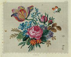 Details zu Antike Stickvorlage: handcolorierter Kupferstich, um 1850…