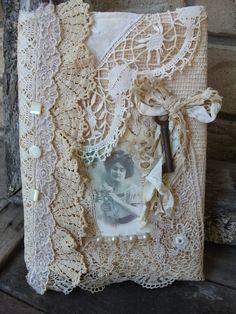 Romantic Vintage Lace Journal Cover, Upcycled Lace, Cream & Ecru Colour Ooak. $28.00, via Etsy.