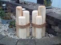 2 Wood Pilings Lawn Or Pier Dock Ornaments Cedar Pool Garden Decor Wooden  Nautical Wedding Decoration