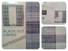 "Next Blue Check Blackout Pencil Pleat Curtains 168x137cm(66""x54"") BNIP"