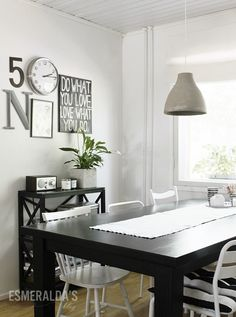 My kitchen and my new concrete lamp. Decor, Concrete Diy, Interior, Dinning, White Board, Beautiful Dining Rooms, Home Decor, Concrete Lamp, Beautiful Rug