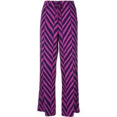 Steffen Schraut Chevron Printed Trousers (13.195 RUB) ❤ liked on Polyvore featuring pants, purple pants, high rise trousers, high-waisted trousers, high waisted tie pants and high waisted tie trousers