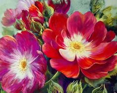 Original Pastel painting 'Greetings'  by Nel Whatmore from.  The National Collection of the Rose. #redrose #roses www.nelwhatmore.com