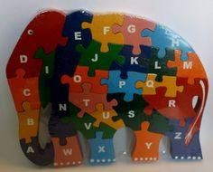 Wooden Elephant Alphabetic ABC Childrens Jigsaw Puzzle by Ceylon handy craft, http://www.amazon.co.uk/dp/B0066XMDY6/ref=cm_sw_r_pi_dp_OgNcsb12P04C0  New Chunky stocks