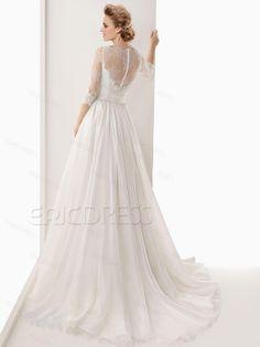 Fashionable A-Line Bateau Half Sleeves Lace Flowers Dramatic Wedding Dress