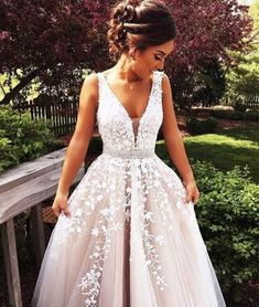 custom made v neck lace tulle long prom dress, formal dress
