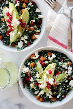 Green Goddess Kale Salad with Roasted Chickpeas