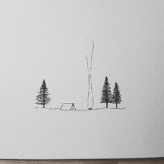 Picked up a little mini watercolour booklet and haven't used it yet. Thought a little camping scene is a great start Hope you are well and your week is going well so far. Nature Sketch, Nature Drawing, Art Sketches, Art Drawings, Camping Drawing, Mountain Tattoo, Wow Art, Line Drawing, Traditional Art