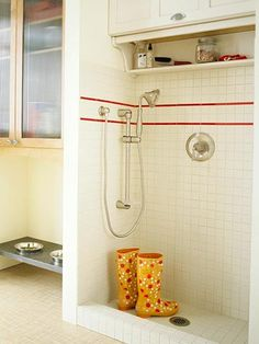 pet wash area and rinse off boots too, this is a must have in a true MUD ROOM! Forget those stupid tiny ugly wash sinks or senseless powder rooms! BUILDERS TAKE NOTES FOR ONCE! Big dog people need this as their grand central station to and fro house from daily walks no matter what temp outside. OK that was my vent for the day, as you can tell I feel strongly about what a MUD ROOM should be :D