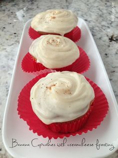 Banana cupcakes with cream cheese frosting - a recipe for all those banana lovers.