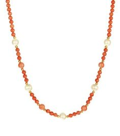 """Red Coral Beaded Necklace with White Freshwater Cultured Pearl, Vermeil Clasp, 18"""" Amazon Curated Collection,http://www.amazon.com/dp/B0057G57FK/ref=cm_sw_r_pi_dp_nHZzrb12E49246A0"""
