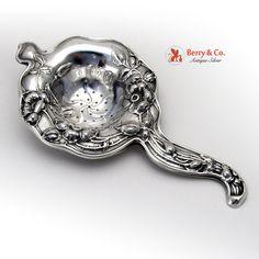 Art Nouveau Floral Tea Strainer Silver 1900
