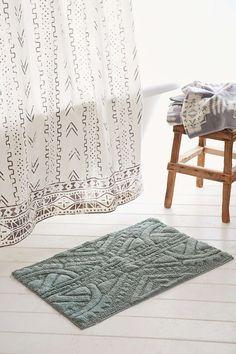 4040 Locust Mark Making Bath Mat, mudcloth print curtain also
