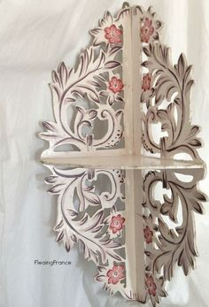 FleaingFrance......vintage French cutwork shelf with hand painted design