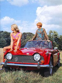 Poster Triumph with female models, (copyright B. Creator: poster sized print mm) made in the UK Classic Cars British, British Sports Cars, British Car, Triumph Tr3, Honda, Tr 4, Car Girls, Image Collection, Automobile