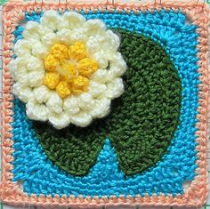 """Water Lily Pad Granny Square (6"""") - free crochet pattern by Tamara Adams, with link for flower pattern"""