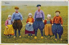 pc kindergroep marken 1937 by janwillemsen, South Holland, Holland Netherlands, Folk Fashion, 1930s Fashion, Corrie Ten Boom, Going Dutch, My Heritage, Traditional Dresses, Folklore