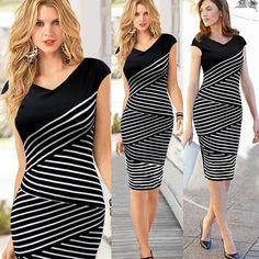 http://www.tinydeal.com/casual-striped-sheath-v-neck-short-sleeve-dresses-for-women-px2gz7f-p-139482.html 2014 Fashion Casual Striped Sheath V-neck Knee-Length Short Sleeve Dresses for Women Girl Ladies
