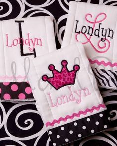 Monogrammed Personalized Embroidered Baby Girl Burp Cloth Animal Print Collection