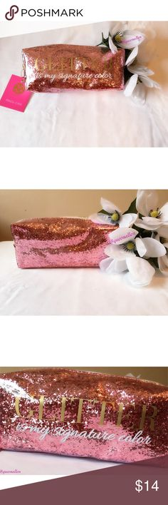 "🍧Rose Gold Glitter Pouch🍧 🍧Brand New With Tags 🍧8"" L X 3.5"" H X 2.5"" W 🍧Rose Gold Glitter 🍧Gold Hardware  🍧Zipper Closure  ""Glitter Is My Signature Color"" quote adorns a rose gold glitter background. From the Macbeth Collection by Margaret Josephs this can be used as a cosmetic pouch, tech bag or catch-all for random items floating in your bag. This pouch will keep you organized and stylish at the same time 😁. Macbeth Collection Accessories"