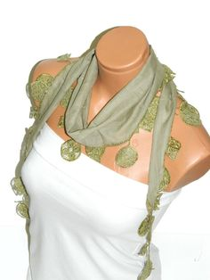 Green Scarf Turkish Fabric Fringed Guipure by WomanStyleStore, $14.00